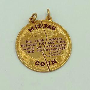 14K GF Mizpah Coin Pendant Friendship Two Pieces